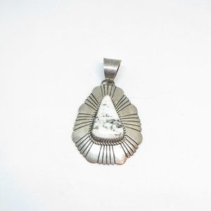Marcella James White buffalo Turquoise Pendant 925